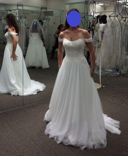 Oleg Cassini Off The Shoulder Tulle Wedding Dress David S Bridal Tulle Wedding Dress Davids Bridal Wedding Dresses Wedding Dresses