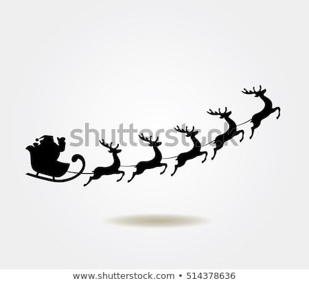 Vector Illustration Of Santa Claus Flying With Deer Christmas Background Vector Illustration Stock Illustration Illustration