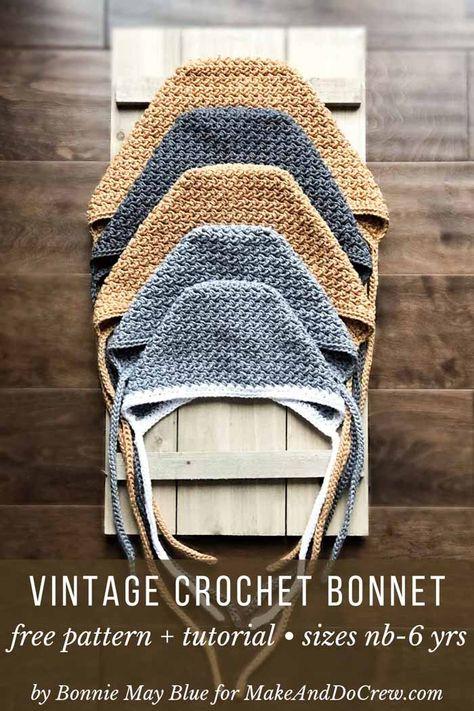 Easy Crochet Baby Bonnet - free modern pattern + tutorial yrs) This vintage crochet bonnet pattern is perfect for boys or girls. Baby Bonnet Pattern Free, Crochet Baby Bonnet, Free Pattern, Knitted Baby, Crochet Newborn Blanket, Baby Knitting, Crochet Baby Hat Patterns, Vintage Crochet Patterns, Doll Patterns
