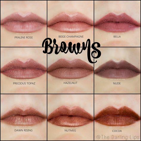 LipSense Brown Color Profile Collage Praline Rose, Beige Champagne, Bella, Precious Topaz, Hazelnut, Nude, Dawn Rising, Nutmeg, and Cocoa #lipsense #brown #lipstick