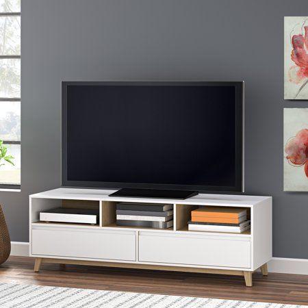 Mainstays Mid Century Tv Stand White Finish For Tvs Up To 70 Walmart Com Mid Century Modern Tv Stand Midcentury Tv Stand Modern Tv Stand