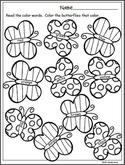 spring butterfly colors worksheet  vorschulübungen