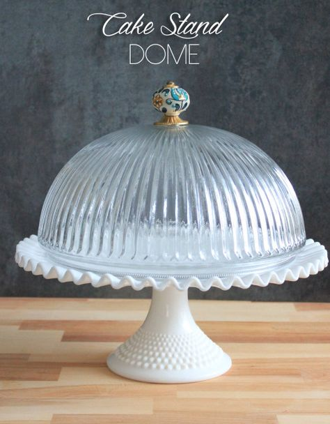DIY Cake Dome - Made from a glass ceiling-light shade, a decorative knob/pull… Cake Stand With Dome, Cake Dome, Cupcake Stands, Dollar Store Crafts, Dollar Stores, Thrift Stores, Thrift Store Finds, Light Fixture Covers, Light Fixtures