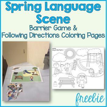 Spring Language Scenes Barrier Games Speech Therapy Activities Preschool Preschool Speech Therapy