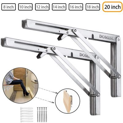Advertisement Folding Shelf Brackets 20 Inch Heavy Duty Stainless Steel Collapsible Wall Mou
