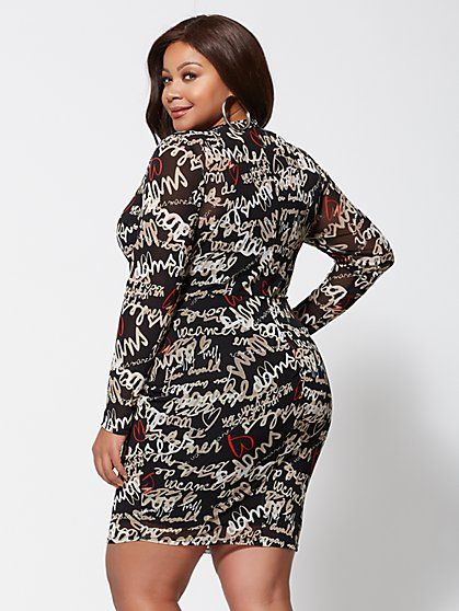 Plus Size Love Graffiti Mesh Bodycon Dress - Fashion To ...