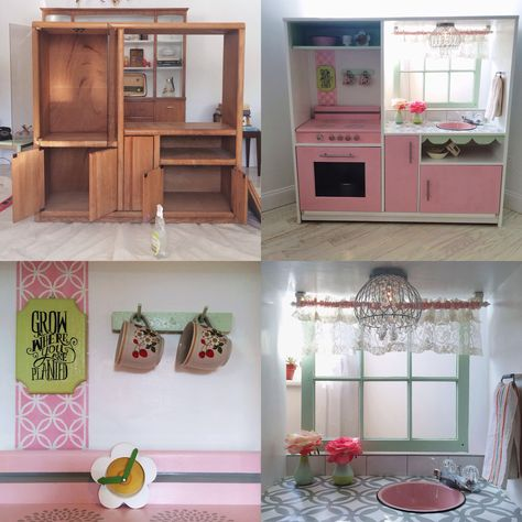 Diy play kitchen from entertainment center. This has to be one of the cutest ones I've ever seen!