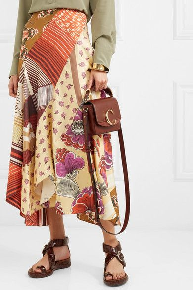 ec19b3fda360b Chloé | Chloé C mini suede-trimmed leather shoulder bag | NET-A-PORTER.COM
