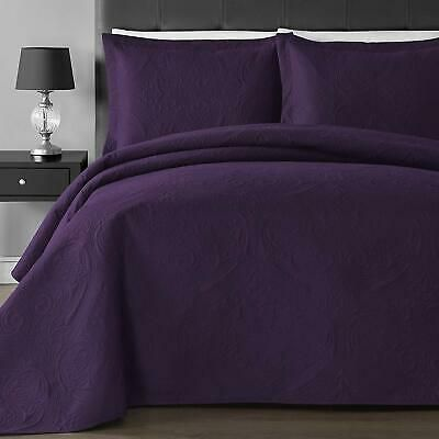 King Size 3 pc Solid  Embossed bedspread Bed Cover New Over size PURPLE//LAVANDER