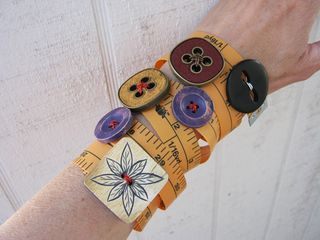 tape measure and button bracelets