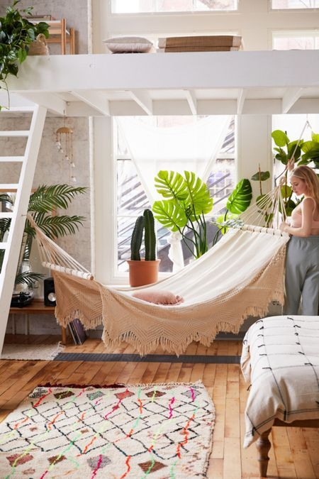 Shop Urban Outfitters for a collection of bohemian inspired bedroom decor and furniture. Discover macramé hammocks, woven rugs, and more for a relaxing, boho feel. Cute Dorm Rooms, Cool Rooms, Bedroom Ideas For Small Rooms, Small Bedrooms, Aesthetic Rooms, Dream Rooms, Dream Bedroom, My New Room, Living Room Designs
