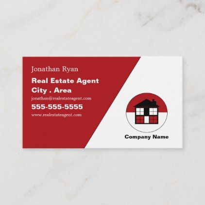 Red House Logo Realtor Estate Agent Business Card Real Estate Gifts Business Cyo Diy Customize Printing Business Cards Real Estate Gifts Business Card Red