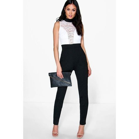 Boohoo Night Jess Barely There Lace Skinny Leg Jumpsuit 44