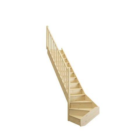 Escalier 1 4 Tournant Bas Gauche Bois Sapin Deva 2 13 Marches