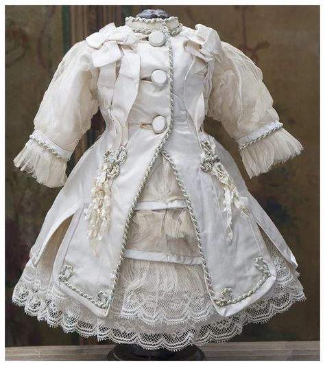 Antique French Cream Silk Satin Two-piece Dress Costume for Jumeau Bru Steiner Gaultier Schmitt Eden bebe doll about tall