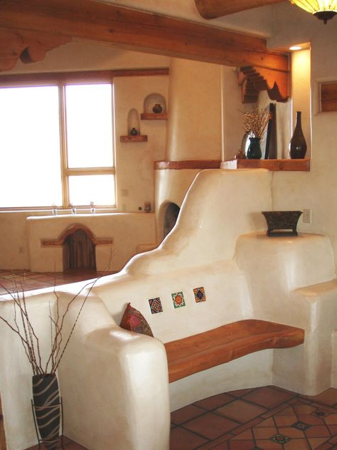 Wooden Bench in Southwest-Style Home