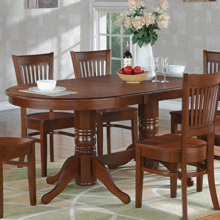 East West Furniture 59 76 Inch Vancouver Double Pedestal Oval Dining Table With Butterfly Leaf F Pedestal Dining Room Table Dining Room Sets