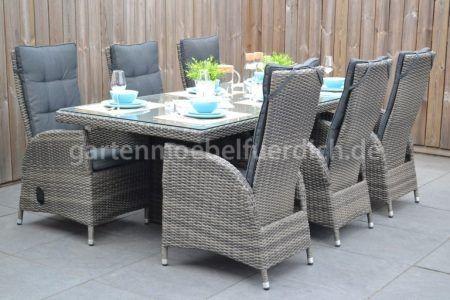 Bologna Polyrattan Gartentisch 225 Mit 6 Bologna Verstellbaren Dining Stuhlen Zweifarbig Grau Garten Mobel Fur Dich Gartenmobel Gartenmobel Design Gartentisch