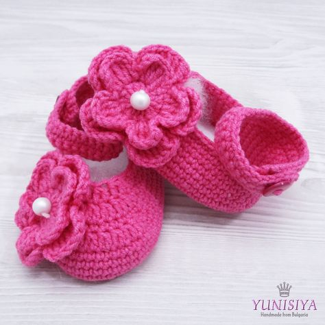05165aa267472 Crochet Pink Shoes Crochet Baby Shoes ballerina shoes princess shoes flower shoes  Newborn Girl Shoes Hot Pink Shoes Pink Shoes Baby Girl by Yunisiya on Etsy