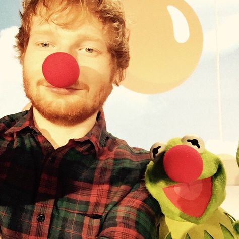 Pin for Later: Stars Share Sweet, Silly Social Media Snaps to Support Red Nose Day Ed Sheeran (and Kermit the Frog!)