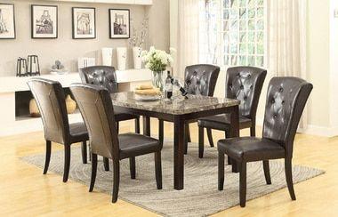 7pcs Real Marble Top Dining Set W Dark Brown Tufted Pu Chairs Dining Table Marble Marble Top Dining Table Dining Room Table Set