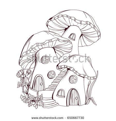 Coloring Book Mushroom Houses Fairy Tale Illustration Mushroom Drawing Drawings Fairy Drawings