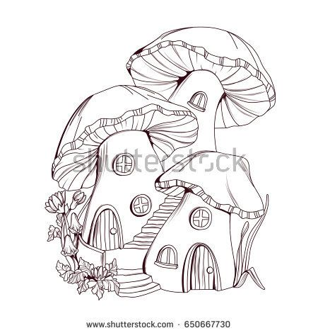 Coloring Book Mushroom Houses Fairy Tale Illustration Fairy