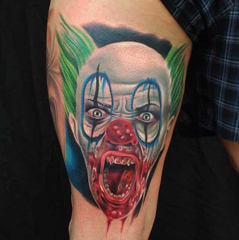 06796ad84 Scary Clown Tattoo. Scary Clown Tattoo. More information. 20 Horrifying  Clown Tattoos That Will Haunt Your Dreams