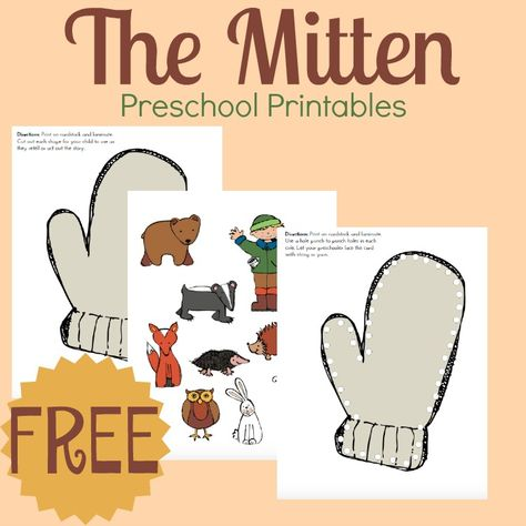 """Jan Brett's The Mitten Story Printable and Hands-On Fun Your preschoolers will love this hands-on activity and free printable to go along with Jan Brett's """"The Mitten."""" This book is perfect for winter homeschool! Preschool Literacy, Preschool Books, Free Preschool, Preschool Themes, Preschool Printables, Preschool Lessons, Preschool Crafts, Winter Preschool Activities, Free Printables"""