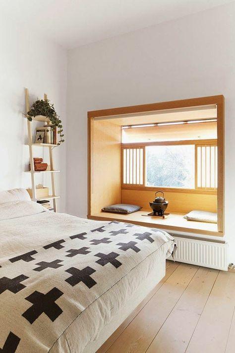 chambre à coucher avec meubles japonaises et une jolie décoration japonais