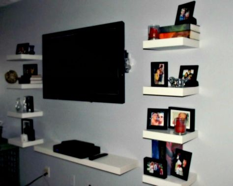 new styles 61ab6 0dff4 Floating Ikea LACK shelves as an entertainment center | My ...