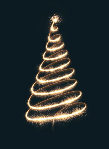 Contemporary Christmas Cards 2020 Sparkler Christmas Tree   AD0154 The light and glow created for