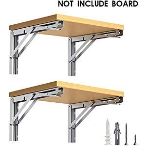 Luckin Folding Shelf Brackets 12 Inch Heavy Duty Stainless Steel Folding Table Bracket Wall Mounted Folding Folding Shelf Bracket Shelf Brackets Folding Table