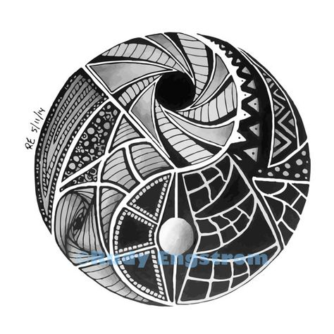 Yin & Yang Zentangle | Original Hand Drawn Illustration | INSTANT DOWNLOAD