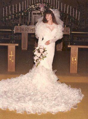 mermaid 80's bride   Wedding dresses, Vintage