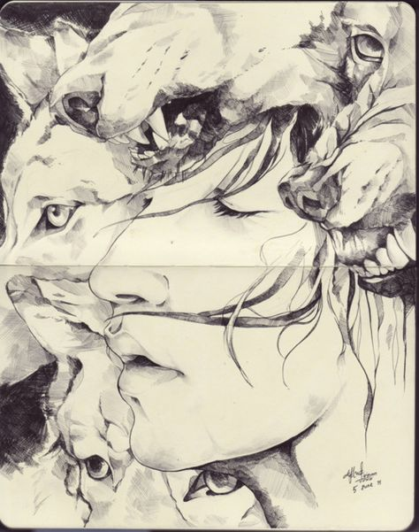 We're All Wolves pencil and ink    Can't find Artist name