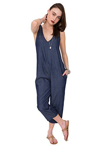 Honey GD Womens Pure Color Solid Sleeveless Jumpsuits Rompers