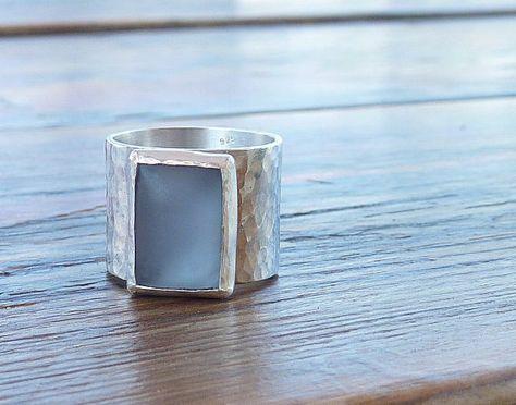 Blue ring Blue Zircon statement ring Wide band Gemstone by anakim