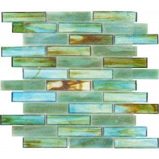 Turquoise Green 1 X 4 Glossy Glass Tile Kitchen Backsplash Green Sea Glass Trendy Kitchen Backsplash