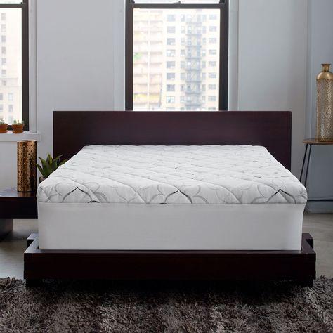 Sleep Innovations Instant Pillow Top Memory Foam And Fiber Hybrid Mattress Topper Mattress Mattress Topper Memory Foam Mattress