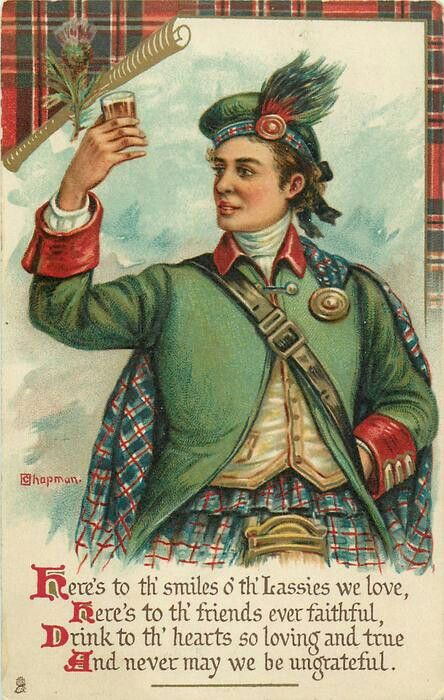Vintage illustration of a Scottish toast, wish there was just ONE