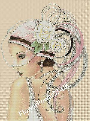 Cross Stitch Chart Art Deco Lady 4a Flowerpower37 Uk Free