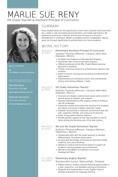 awesome An Effective Sample of Assistant Principal Resume - school principal resume