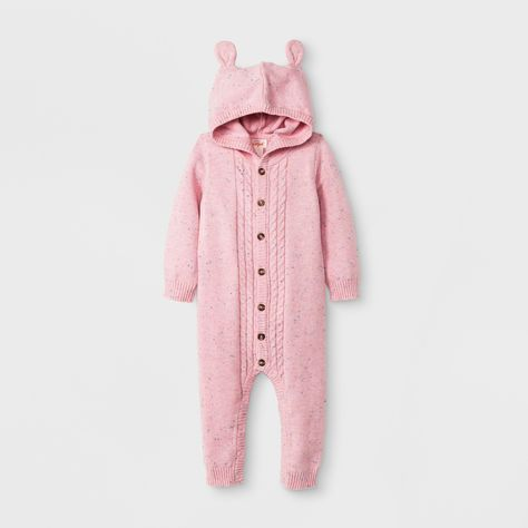 1cf648581 Baby Boys  Long Sleeve Hooded Cable Sweater Romper - Cat   Jack ...