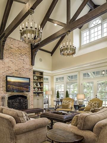 Farmhouse Living Room Design Ideas Living Room Farmhouse With Exposed Beams Rough Hewn Wood Livingroom Ideas House Home Home Living Room
