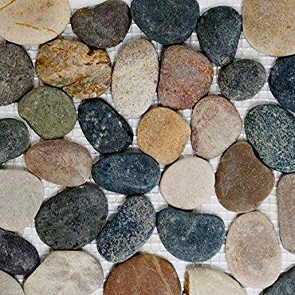 Galets Mosaique Riviere Galets Galets Plat Mix Beige Gris Noir