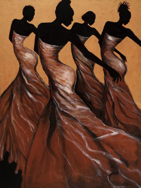 Flow African American Women Figurative Dance Print Wall Art By Monica Stewart African American Artwork, African American Culture, African American Women, African Art, American History, Black Art Painting, Black Artwork, Harlem Renaissance, African Drawings