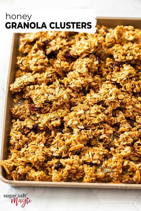 Delicious, super crunchy granola clusters, sweetened with honey are perfect for breakfast or a ready-made snack. Easy to make, easy to customise, and incredibly tasty, this chunky granola can sit in your pantry ready for whenever the urge strikes.