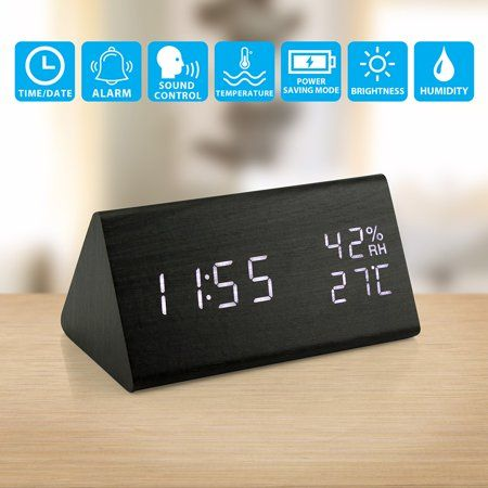 Wooden Alarm Clock Wood Led Digital Desk Clock Upgraded With Time Temperature Adjustable Brightness 3 Set Of Alarm And Voice Control Humidity Displaying In 2020 Alarm Clock Desk Clock Desk Alarm Clock