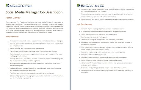 Social Media Manager Job Description - A template to quickly - social media manager job description
